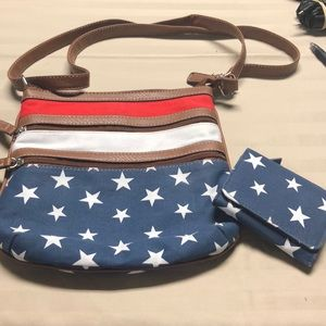 Patriotic crossbody and wallet combo
